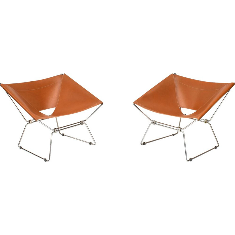 Vintage pair of AP-14 armchairs by Pierre Paulin for Polak