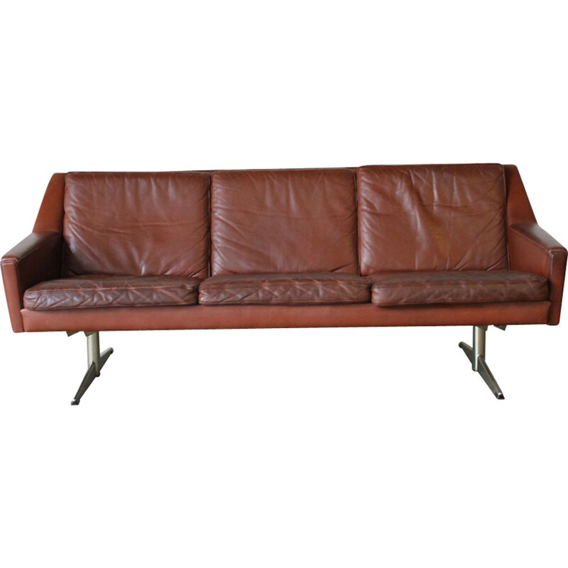 Vintage scandinavian sofa in steel and red leather 1960