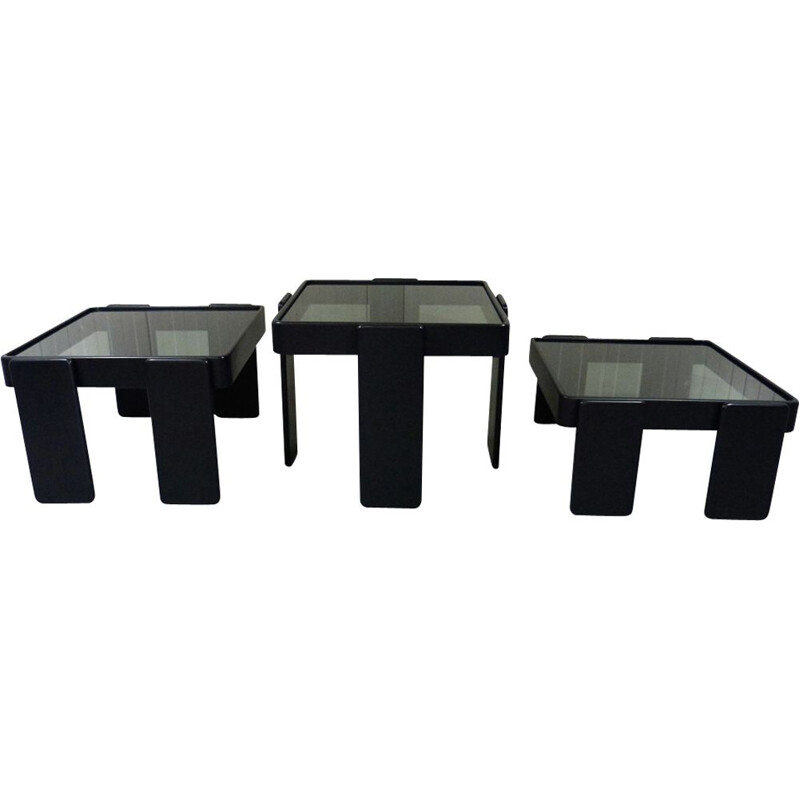 Set of 3 vintage nesting tables by Gianfranco Frattini for Cassina