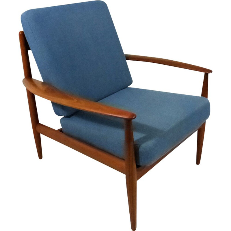 Vintage blue armchair by Grete Jalk for France & Son