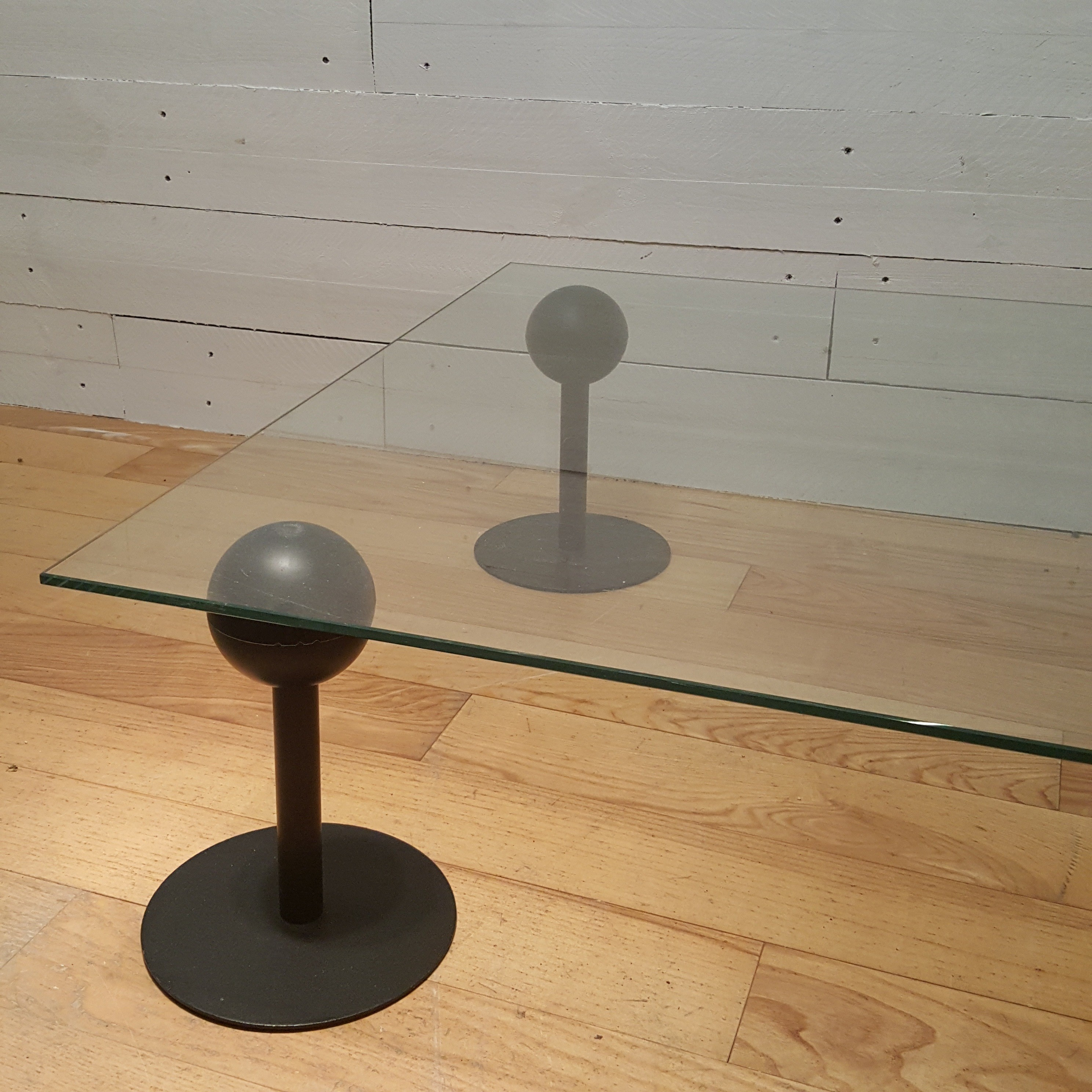 Vicieuse Coffee Table In Glass Rubber And Steel Philippe Starck 1980s Sold