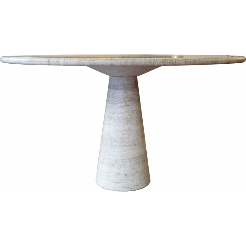 Vintage circular white table in travertine by Angelo Mangiarotti 1970