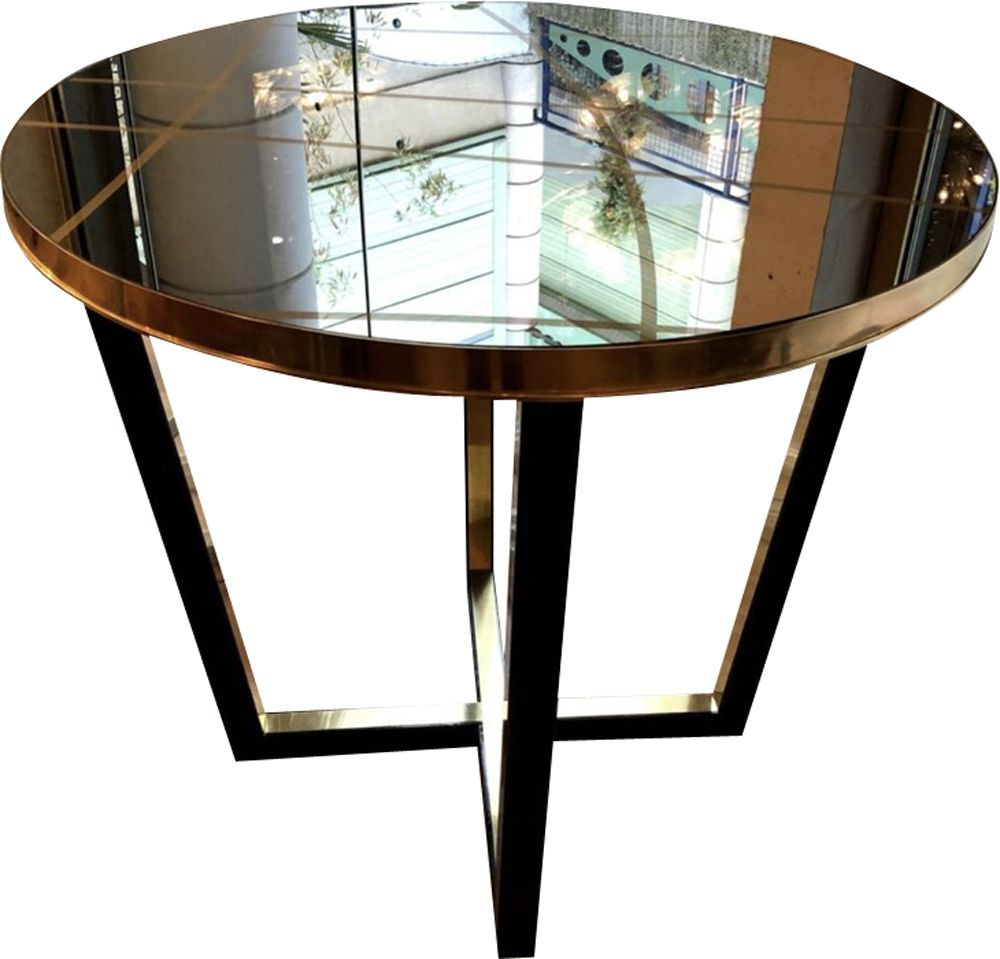 Stained Glass Coffee Table Book: Vintage French Coffee Table In Stained Glass And Brass