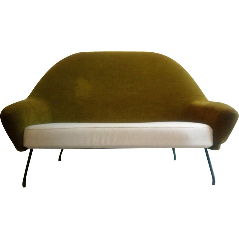Vintage Joseph André Motte sofa model 770 in metal and fabric