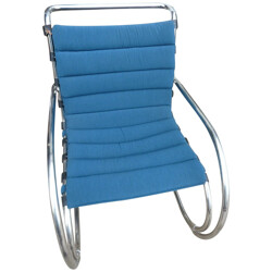 Pair of Mr lounge armchairs in blue fabric and steel, Ludwig Mies VAN DER ROHE - 1980s