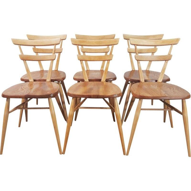 Set of 6 vintage adult green dot stacking chairs by Lucian Ercolani by Ercol