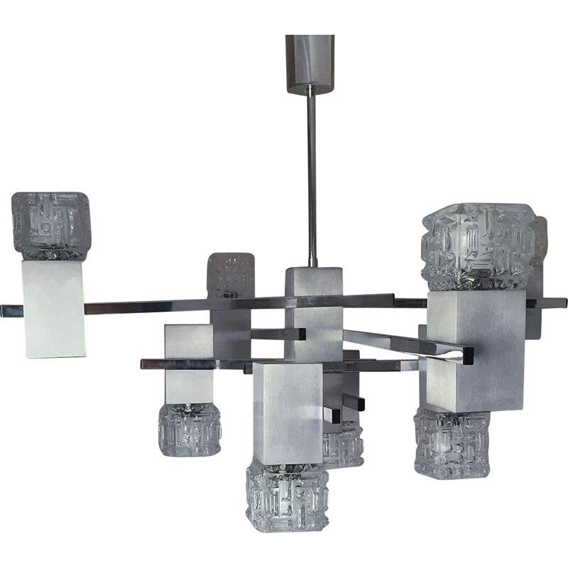 Vintage cubic chandelier in metal