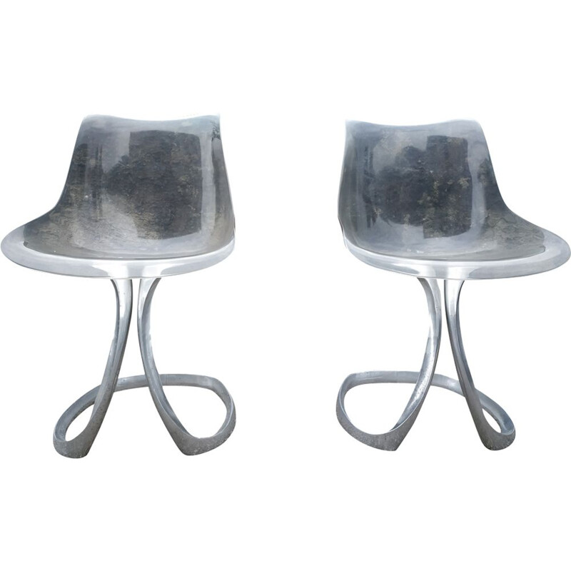 Pair of vintage steel chairs by Michel Charron