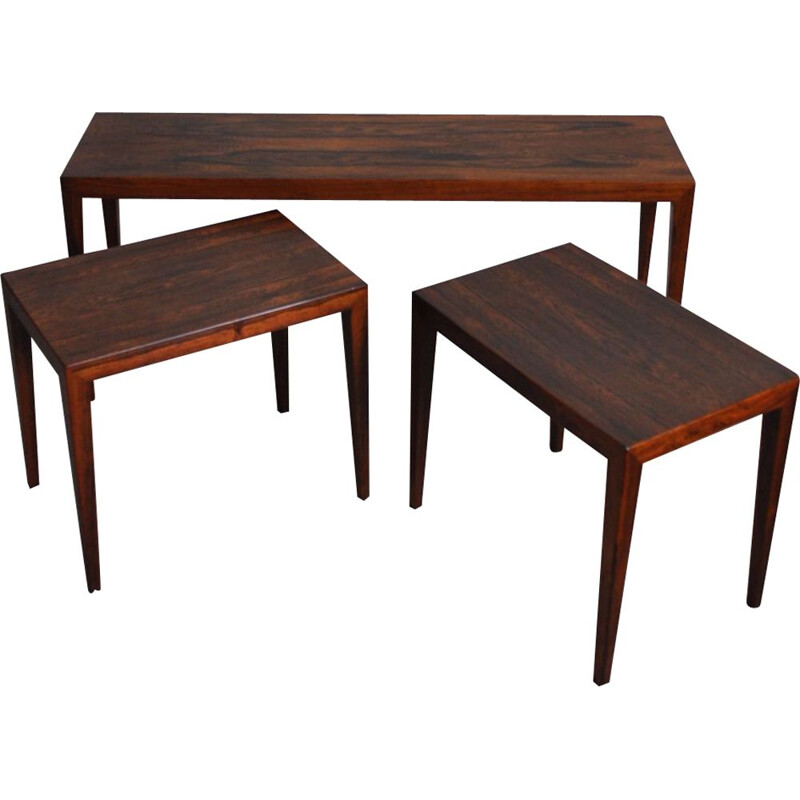 Set of 3 nesting tables in rosewood by Severin Hansen