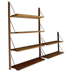 Vintage shelves in solid oak and brass, Jacques HAUVILLE, BEMA edition - 1950s