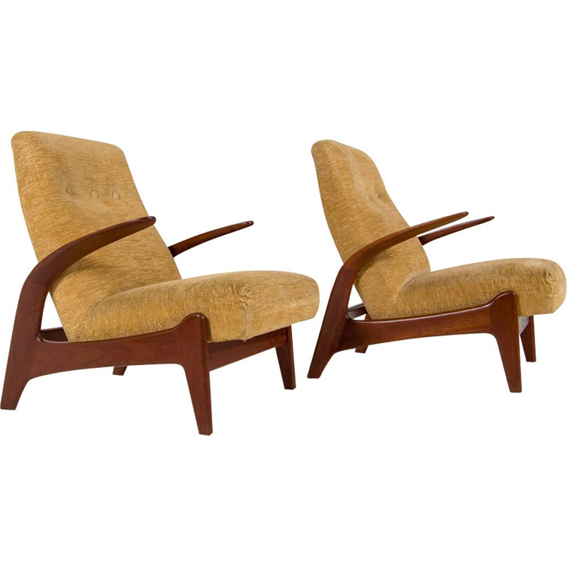 Set of 2 yellow easy chairs by Gimson & Slater
