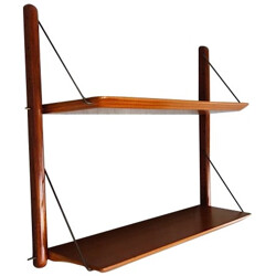 Vintage shelves in mahogany veneer and brass, Jacques HAUVILLE, BEMA edition - 1950s