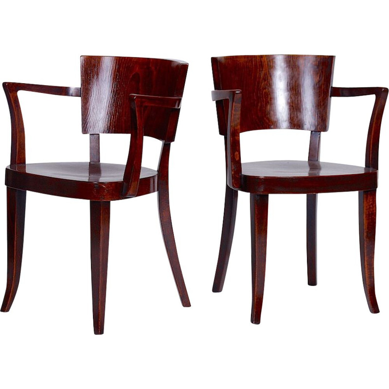 Set of 2 wooden chairs by Thonet