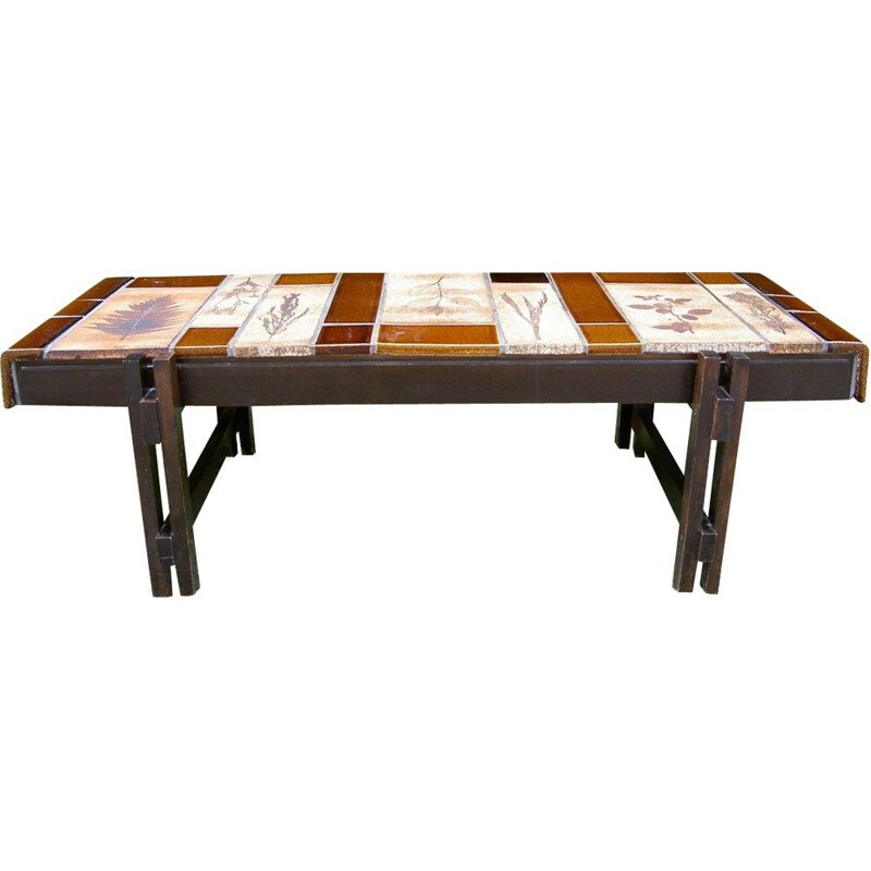 """Vintage coffee table """"Herbier"""" by Roger Capron"""