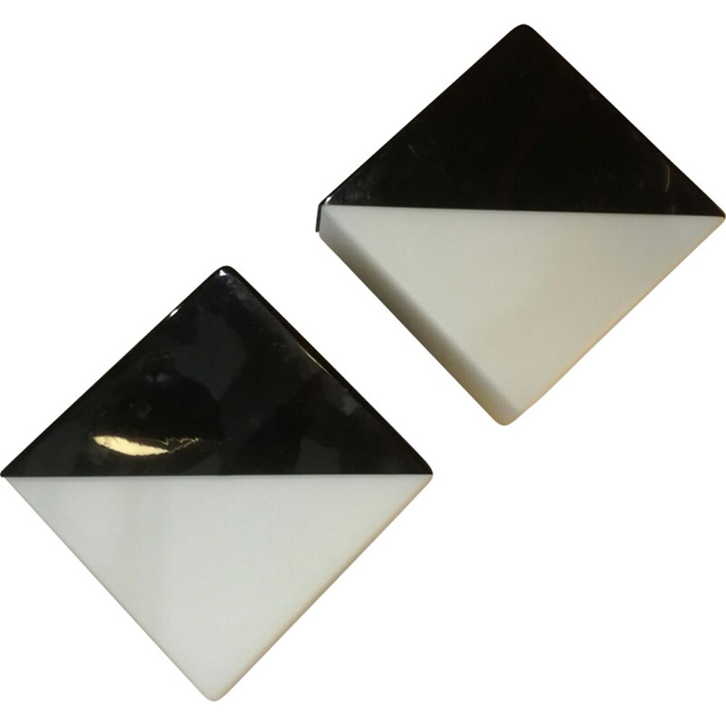 Set of 2 vintage wall lamps in opalescent glass by Raak