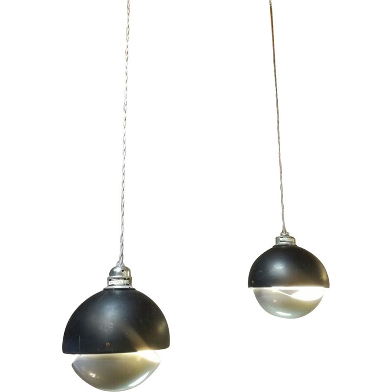 Set of 2 vintage pendant lamps in aluminum by Raak