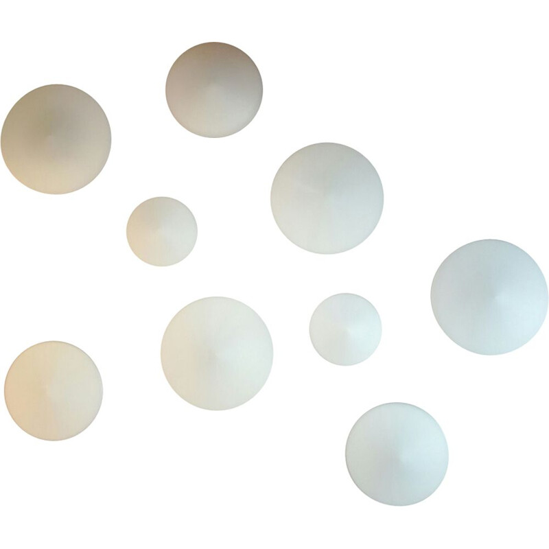 """Set of 9 vintage wall lamps """"Discus"""" by Raak"""