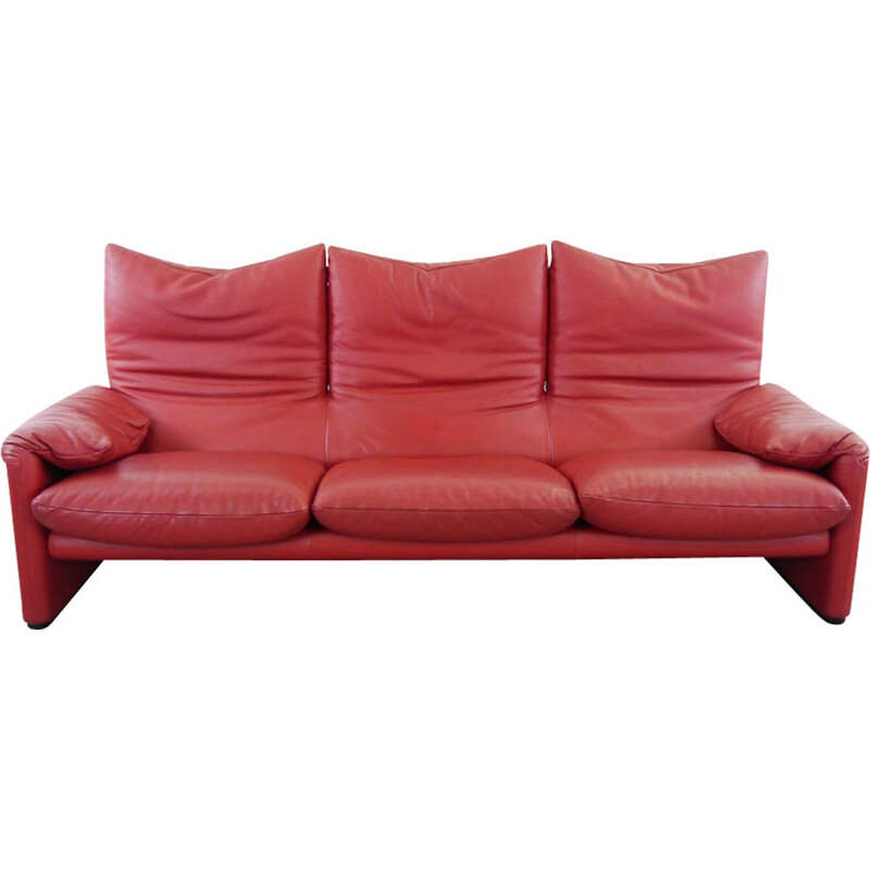 Vintage Maralungs sofa in red leather by Vico Magistretti for Cassina
