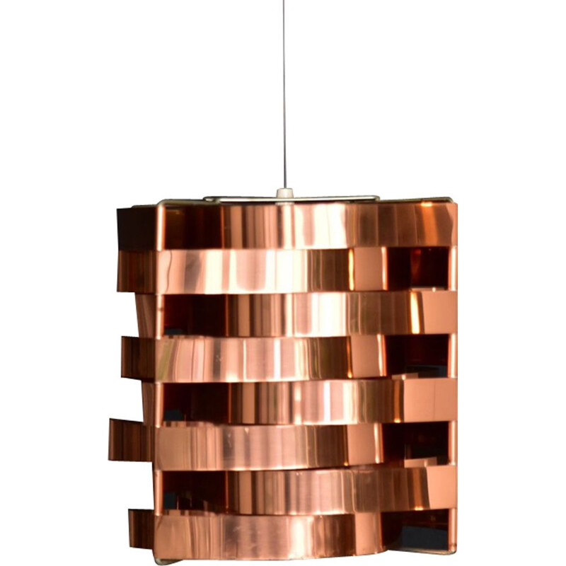 Vintage Max Sauze pendant lamp in copper and brass 1970