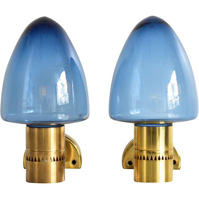 Pair of vintage brass wall lamps by Agne Jakobsson for Markaryd Sweden