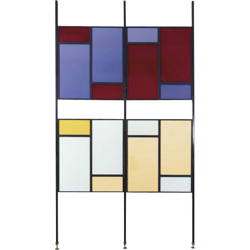 Vintage italian colourful room divider in metal and plexiglas 1960