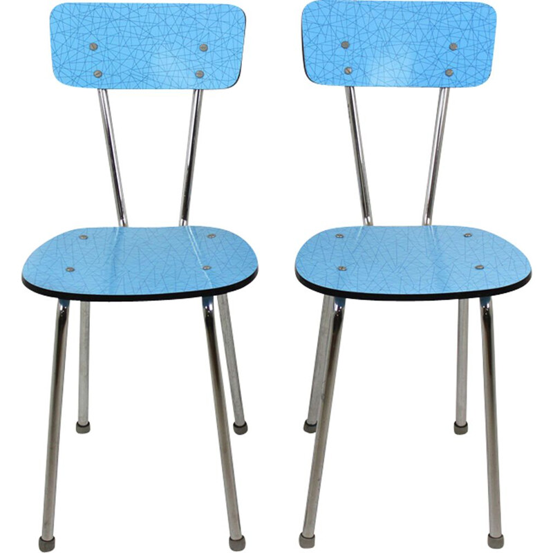 Set of 2 vintage blue formica kitchen chairs