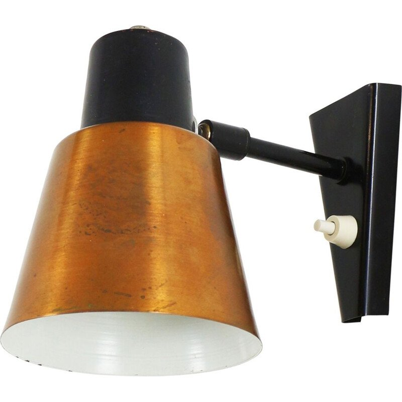 Vintage copper and black metal wall lamp by Hala Zeist