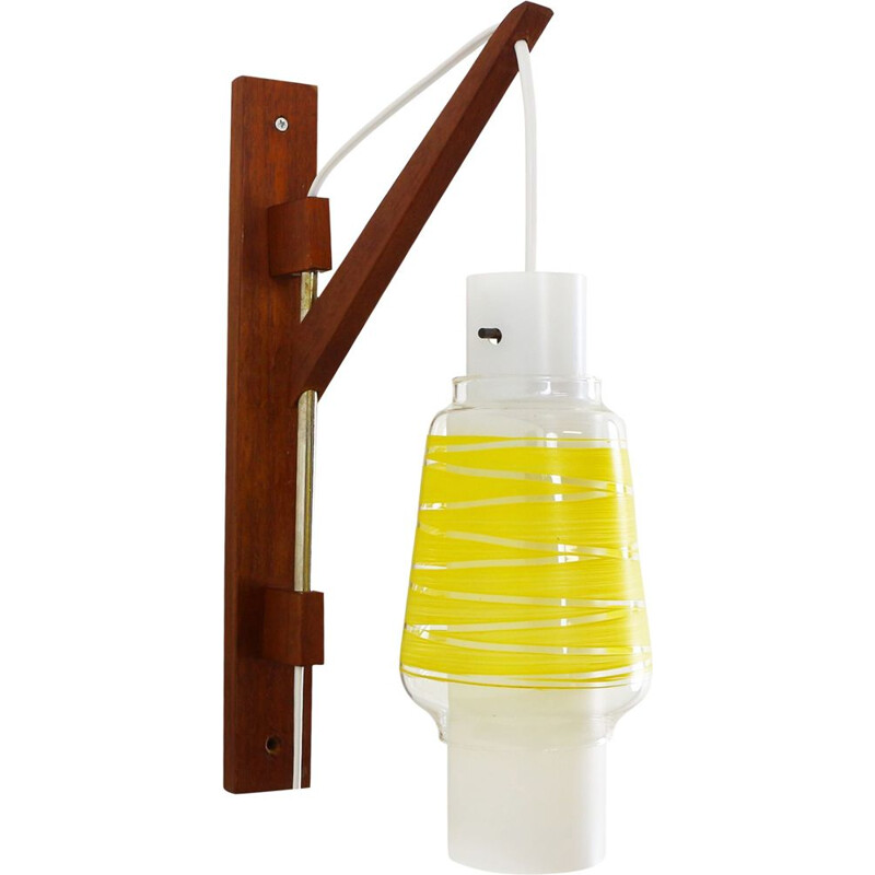 Vintage wall lamp in yellow frosted glass