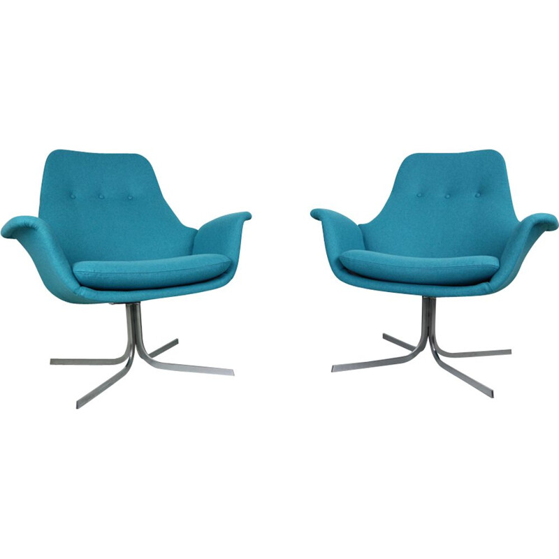 Set of 2 vintage Tulip F-547 blue armchair by Pierre Paulin