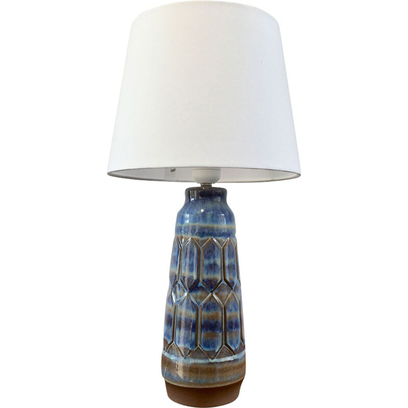 Vintage blue and grey ceramic lamp by Einar Johansen