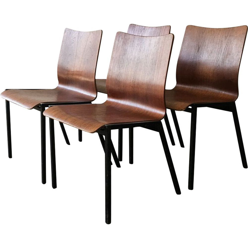 Set 4 of vintage Danish stacking chairs