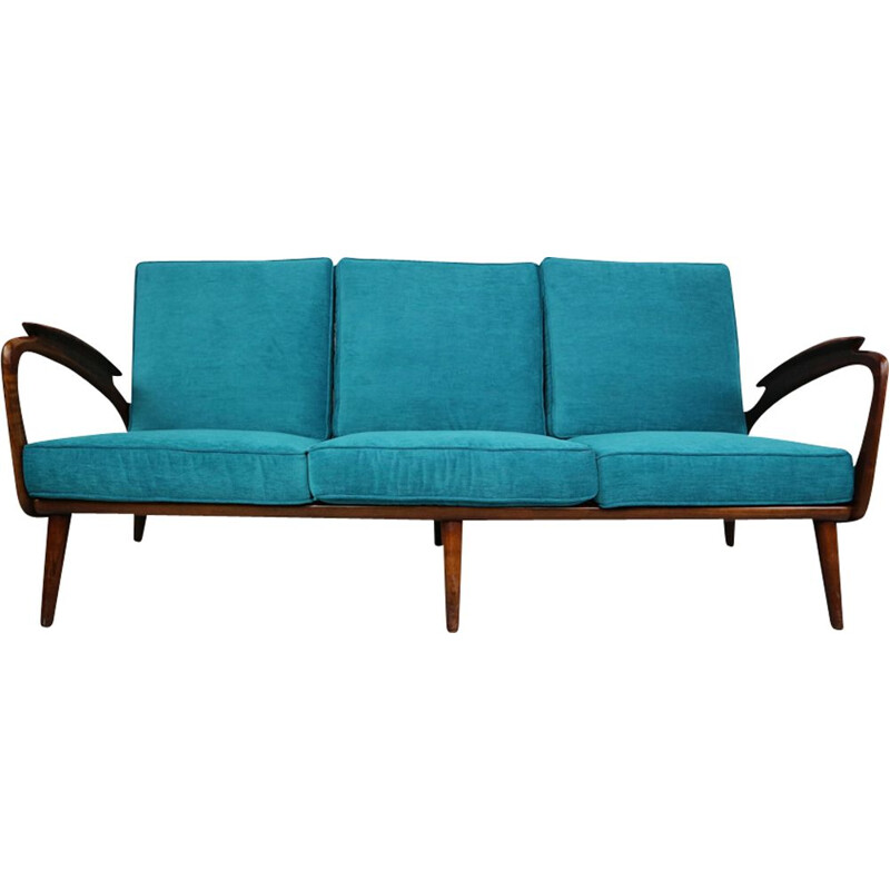 Vintage blue 3-seater sofa in walnut by De Ster Gelderland