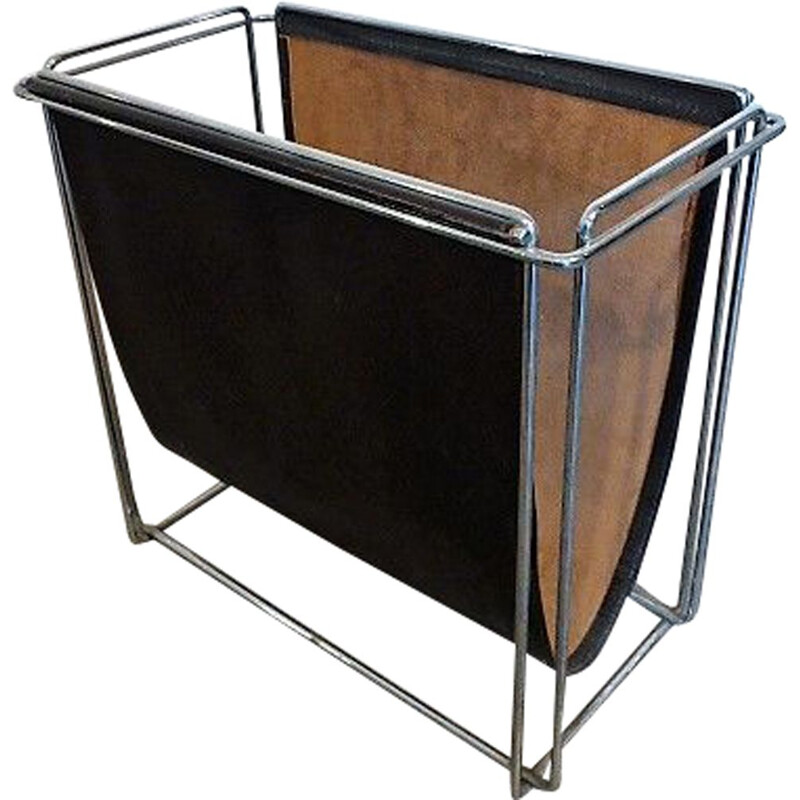 Vintage French magazine rack in leather by Max Sauze