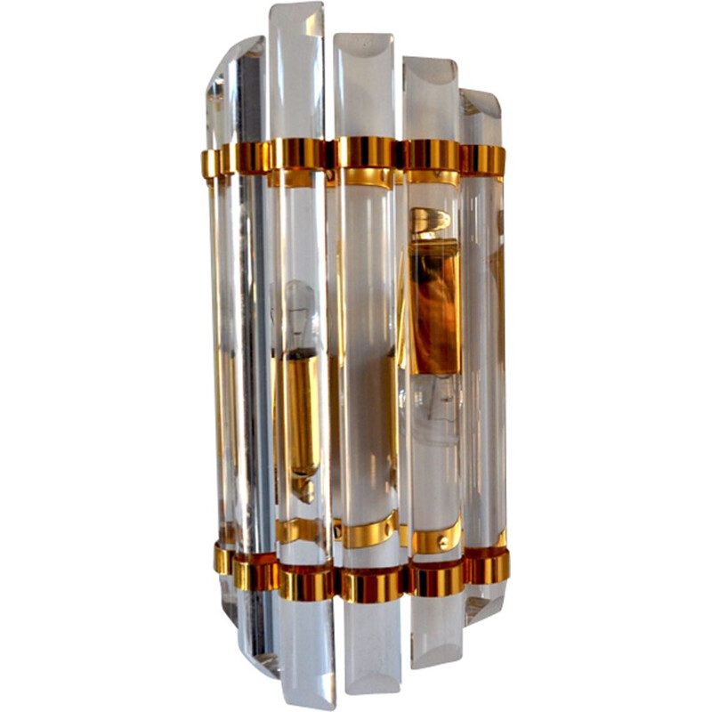 Vintage golden wall lamp in Murano glass
