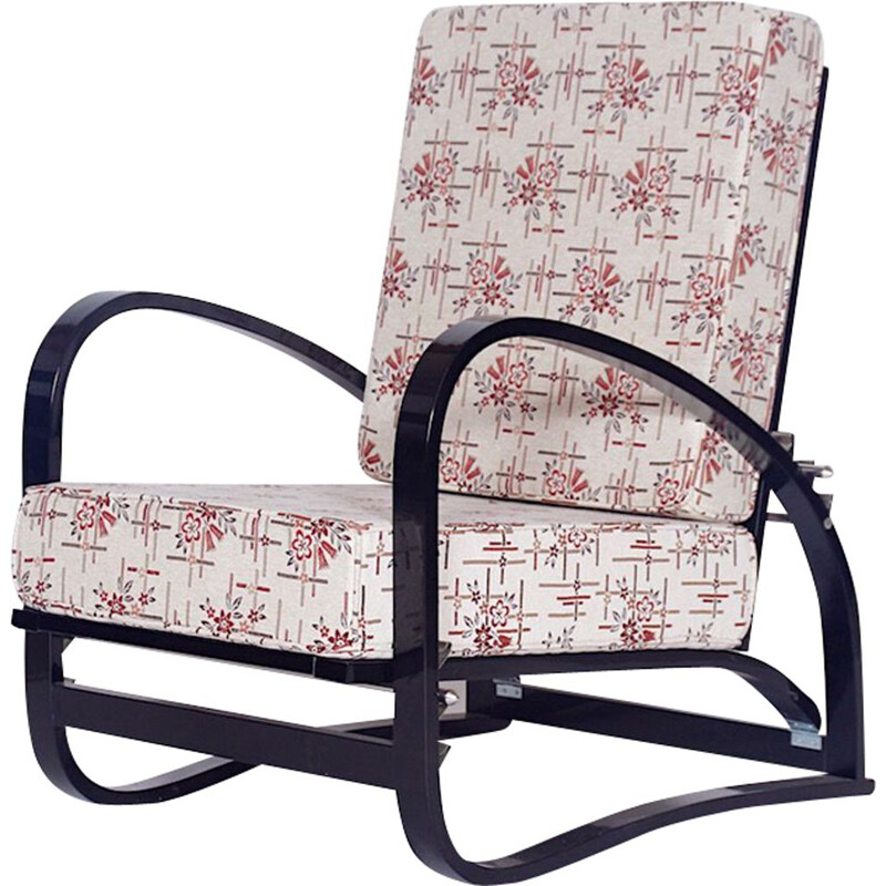 Vintage H70 Armchair by Jindrich Halabala in oakwood and fabric 1930