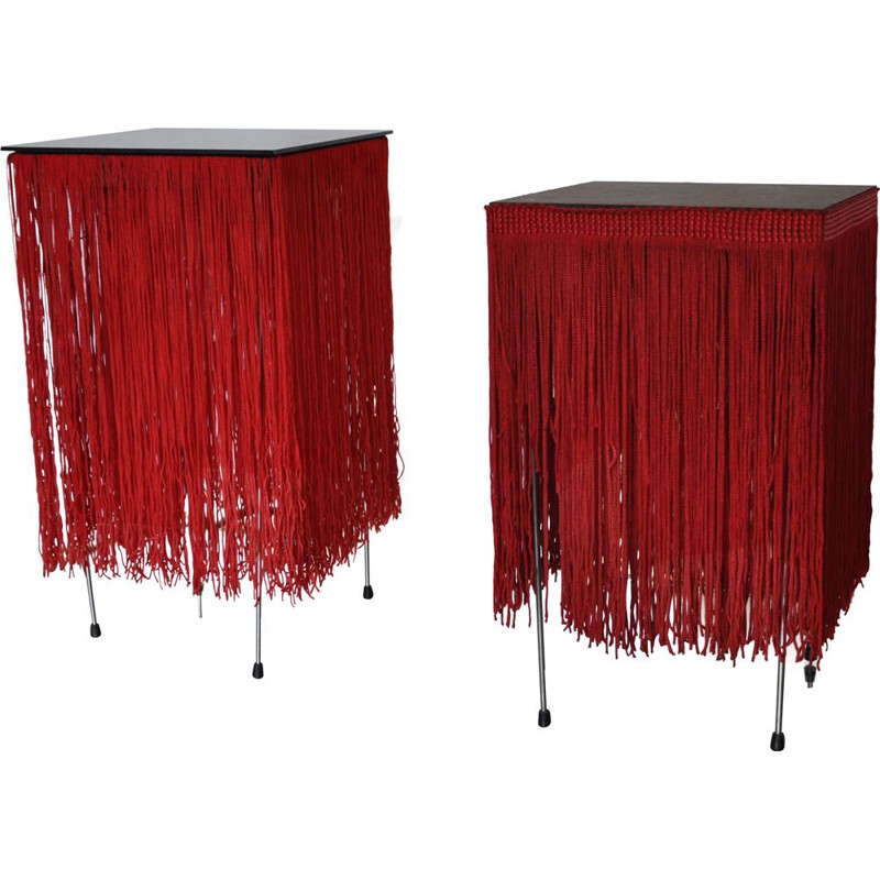 Pair of vintage red lamps with fringe Hans-Agne Jakobsson style 1980