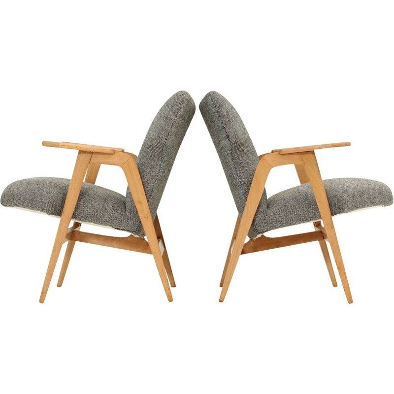 Pair of vintage Roger Landault armchairs in benchwood and grey fabric 1950