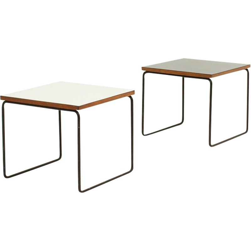 Pair of vintage Volante side tables for Steiner in steel and wood
