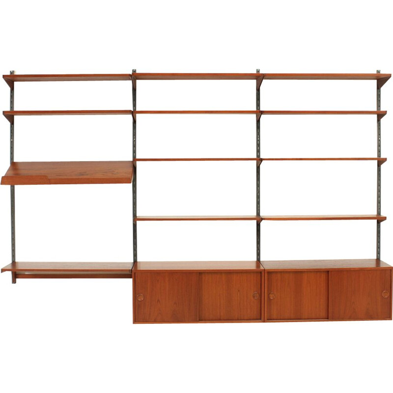 Vintage teak and metal shelving system by Kai Kristiansen for FM Møbler