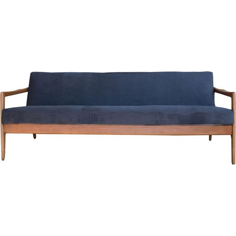 Vintage blue sofa in cherry wood