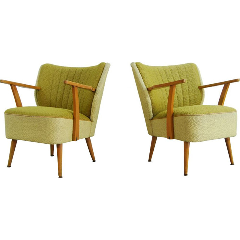 Set of 2 vintage yellow green armchairs