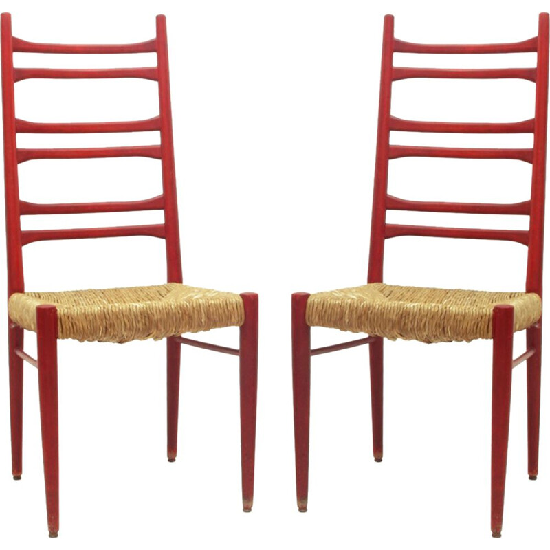 Set of 2 vintage red chairs
