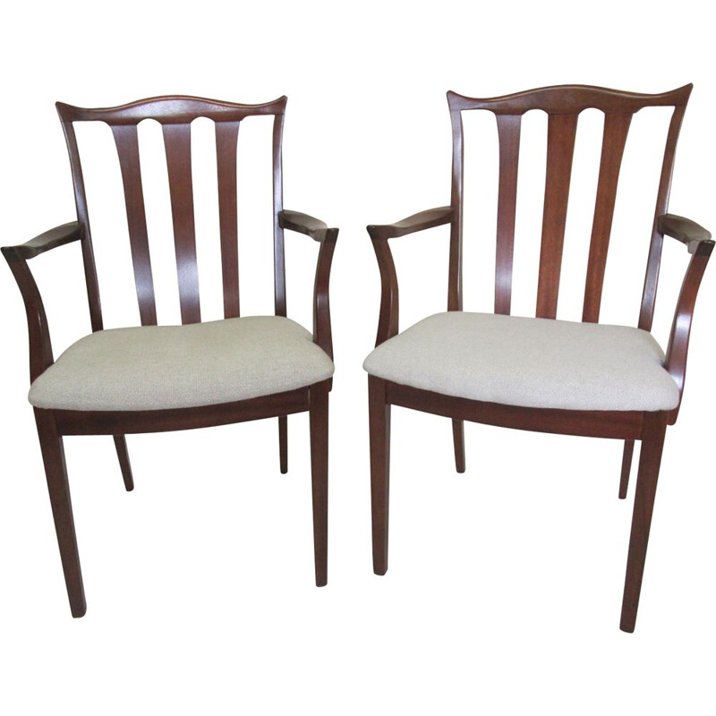 Pair of vintage chairs in teak and linen 1960