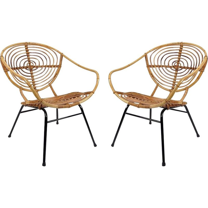 Set of 2 dutch rattan lounge chairs by Rohe Noordwolde