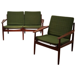 Set of bench and armchair in teak and green fabric, Grete JALK - 1960s