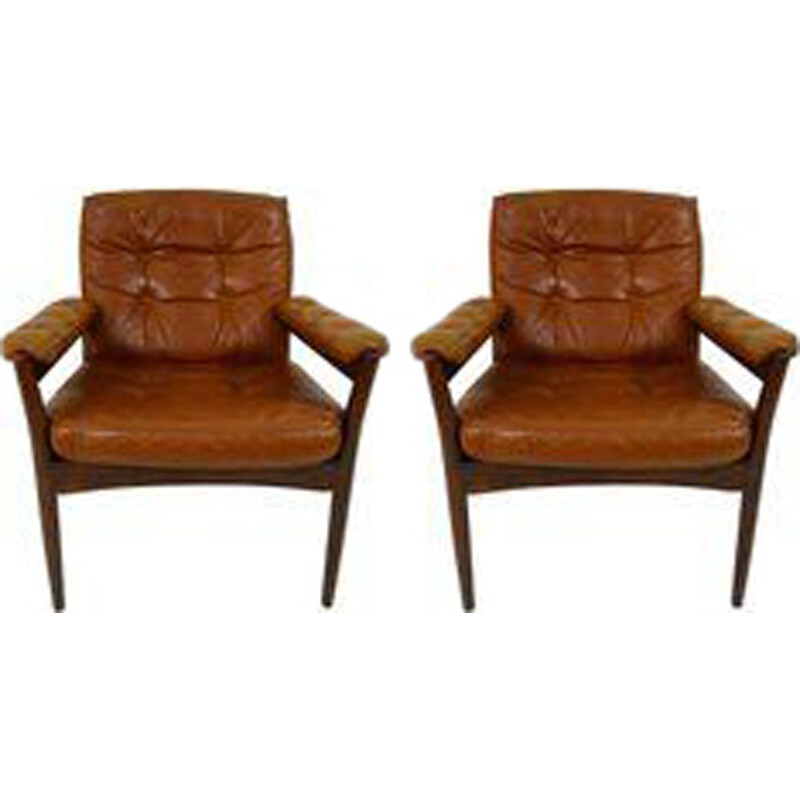Set of 2 vintage Swedish armchairs in wood and leather by Gote Möbel