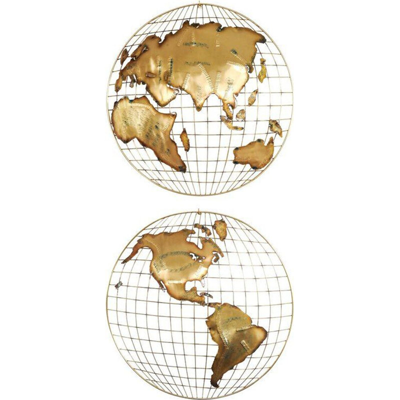 "Set of 2 vintage wall sculptures ""The World"" in brass by Curtis Jeré"