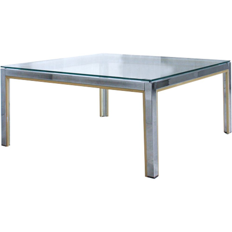 Vintage Italian coffee table in golden chrome and glass by Renato Zevi