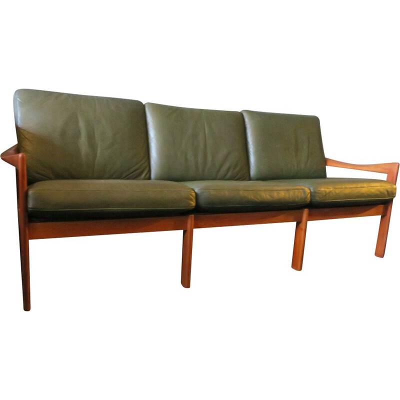 Vintage 3-Seater Sofa for Niels Eilersen in teak and green leather 1960s