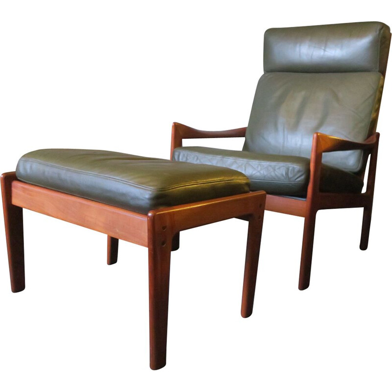 Vintage Niels Eilersen lounge chair and ottoman in solid teak and leather